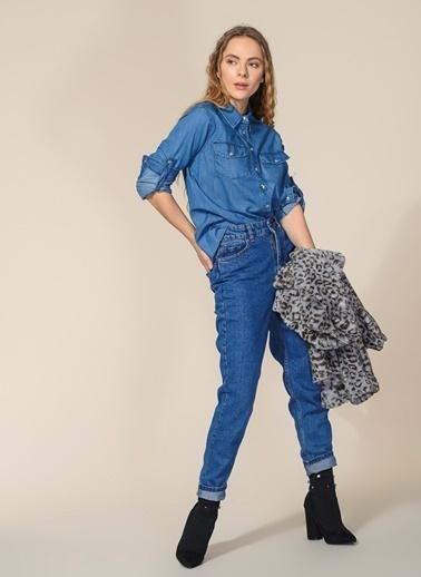 Agenda Cep Detaylı Jean Gömlek Mavi